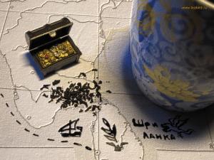 Черный чай на карте рельеф
