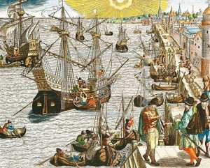 Отплытие флота из порта Лиссабона.